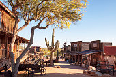 Apache Junction, Arizona, USA 04/25/2019 The Goldfield Ghost town on a sunny spring day