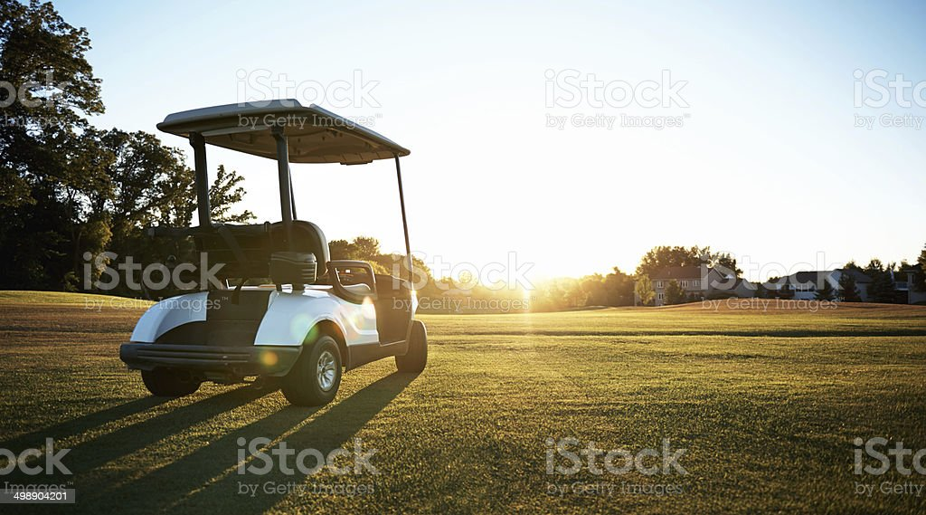 The golf cart prowls its natural habitat stock photo