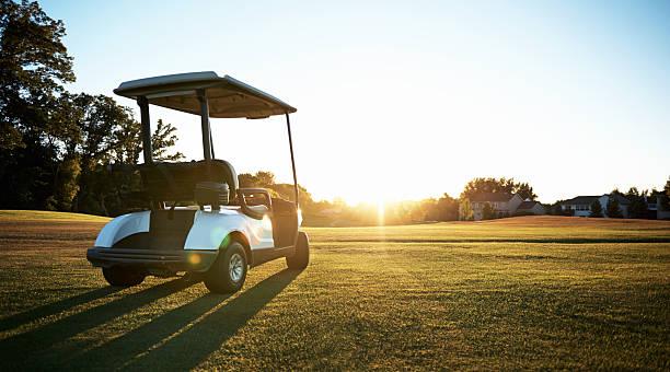 The golf cart prowls its natural habitat stock photo