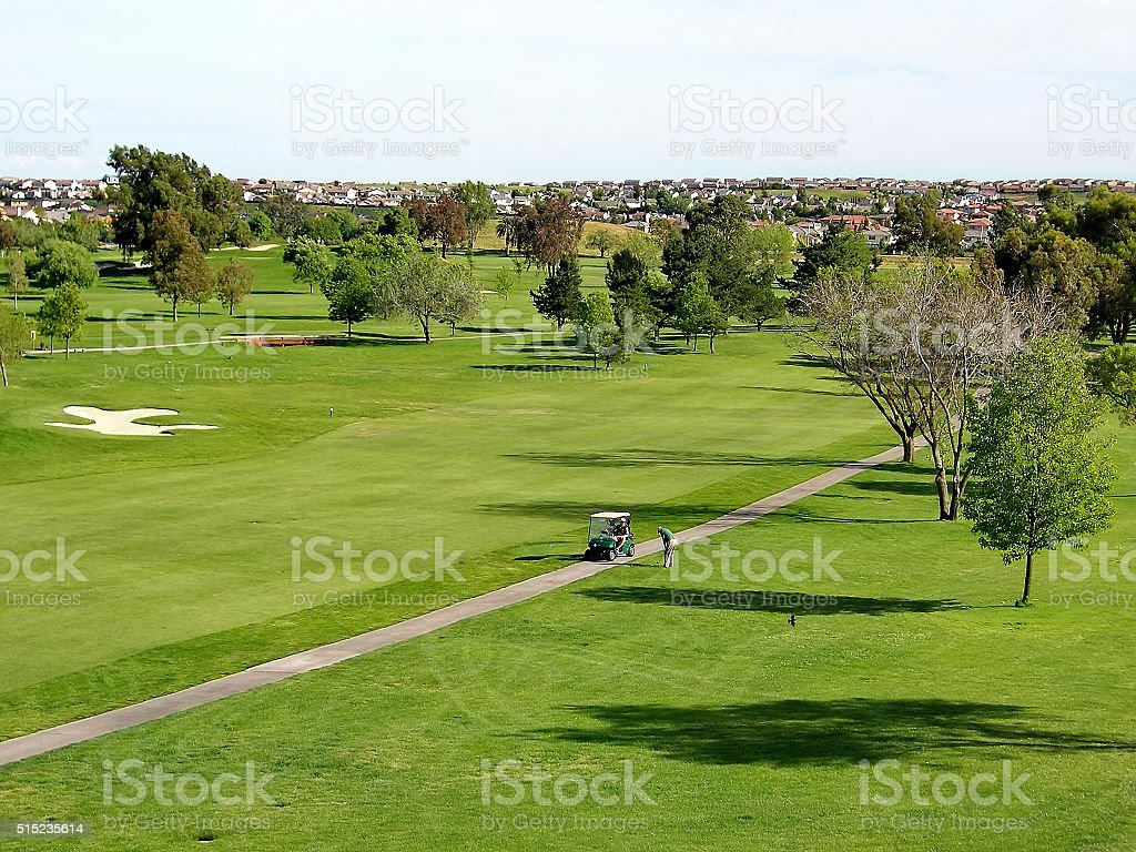 the golf course near the town in San Francisco stock photo