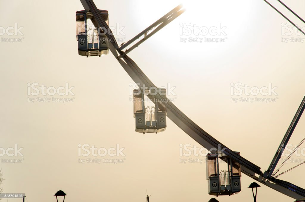 The gondolas of a big wheel stock photo