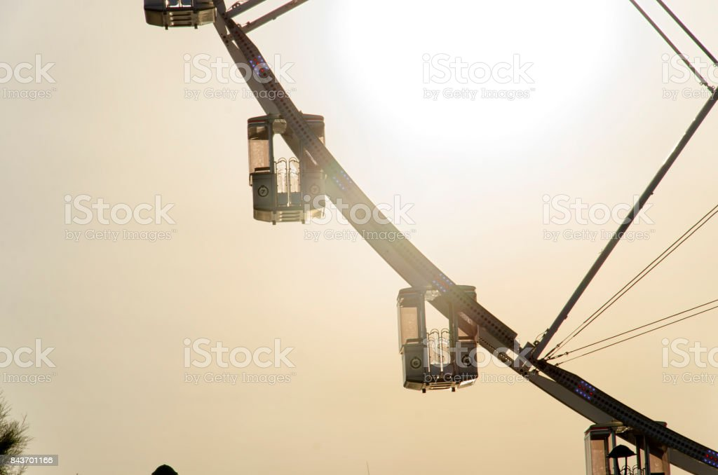 The gondolas of a ferris wheel stock photo