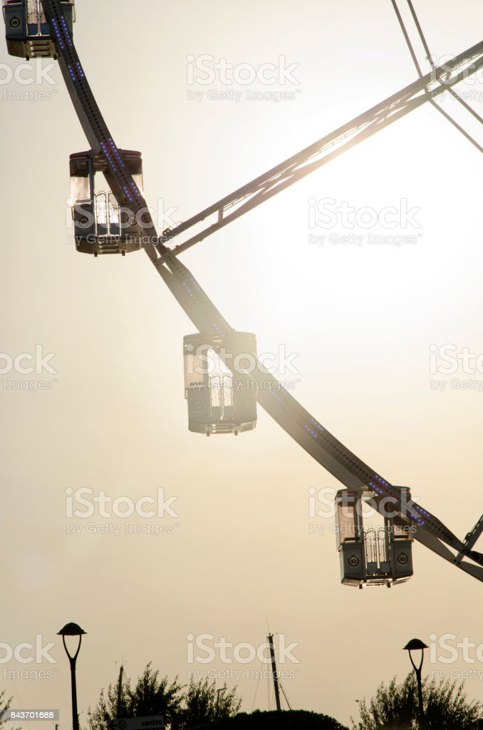 The gondolas of a observation wheel stock photo