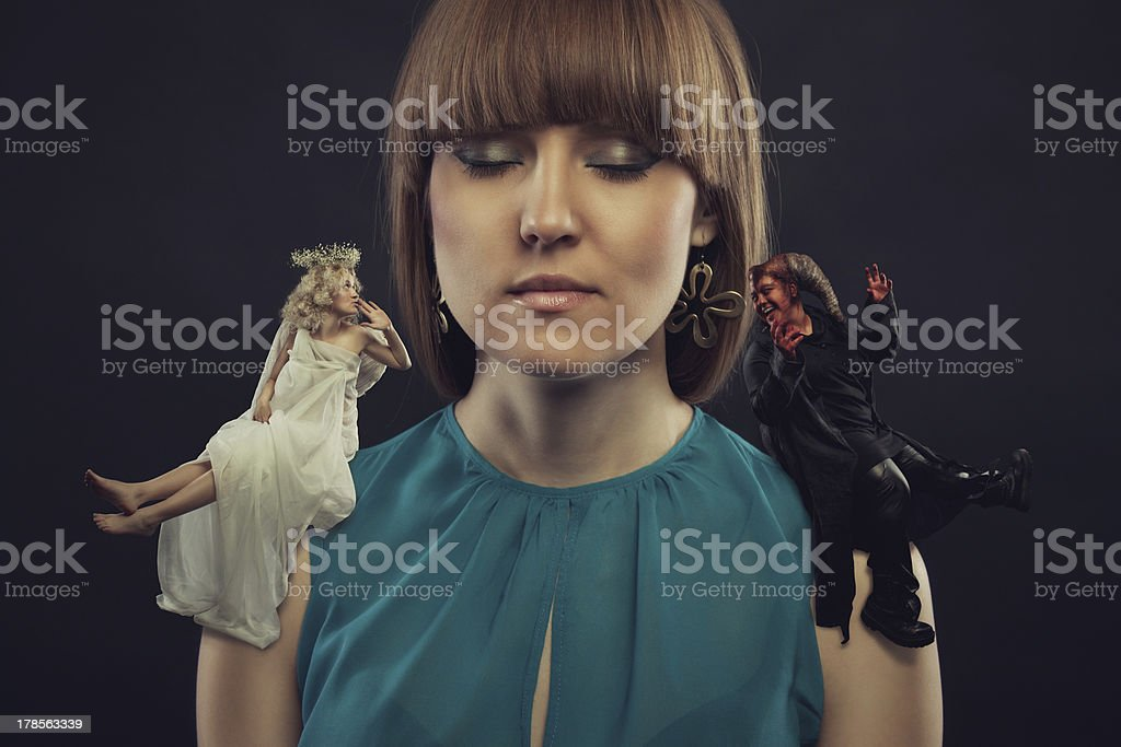 The good and bad in our head concept stock photo