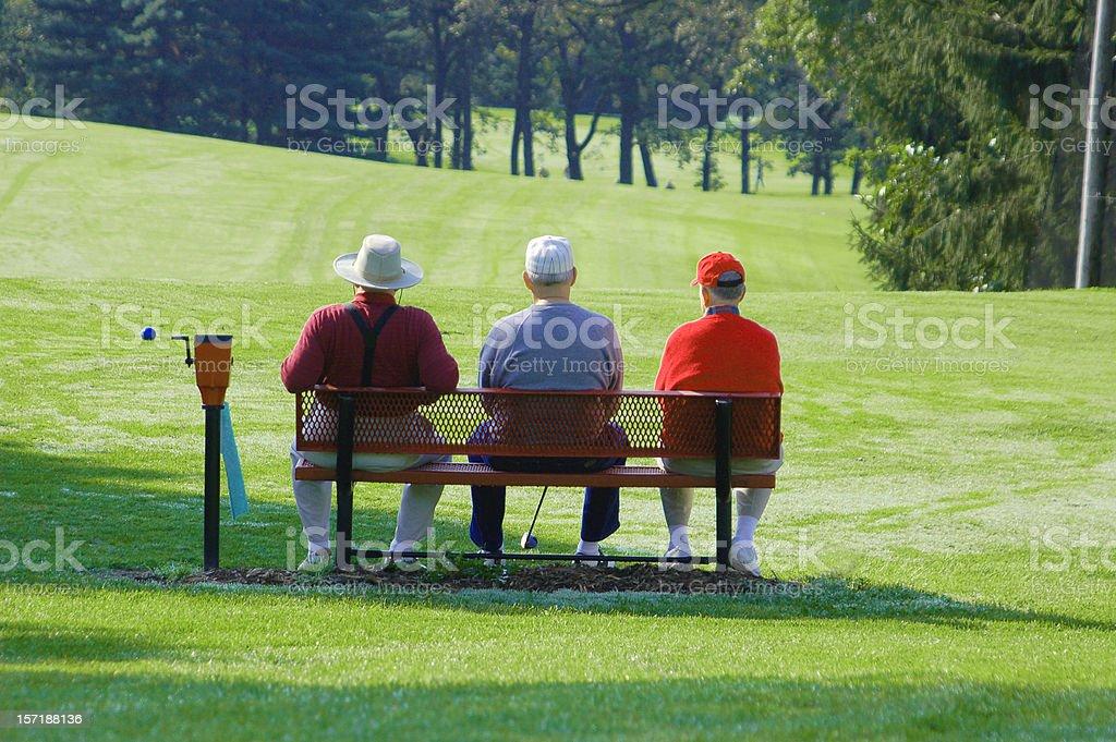The Good Life Retired Men Golfing stock photo