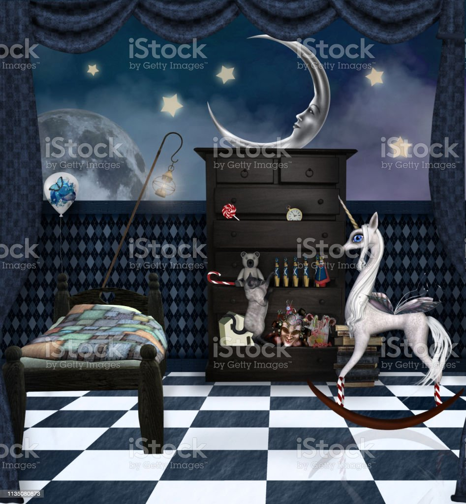 Surreal child bedroom with a little pony and a playful cat - 3D...