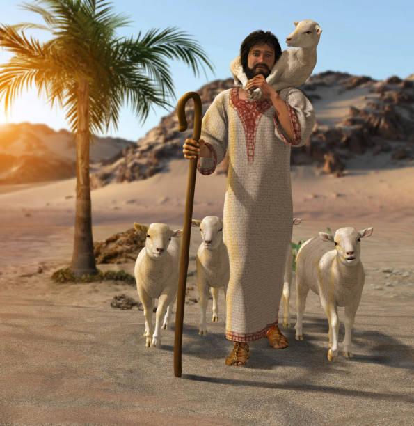 The Good Shepherd bring home a lamb stock photo