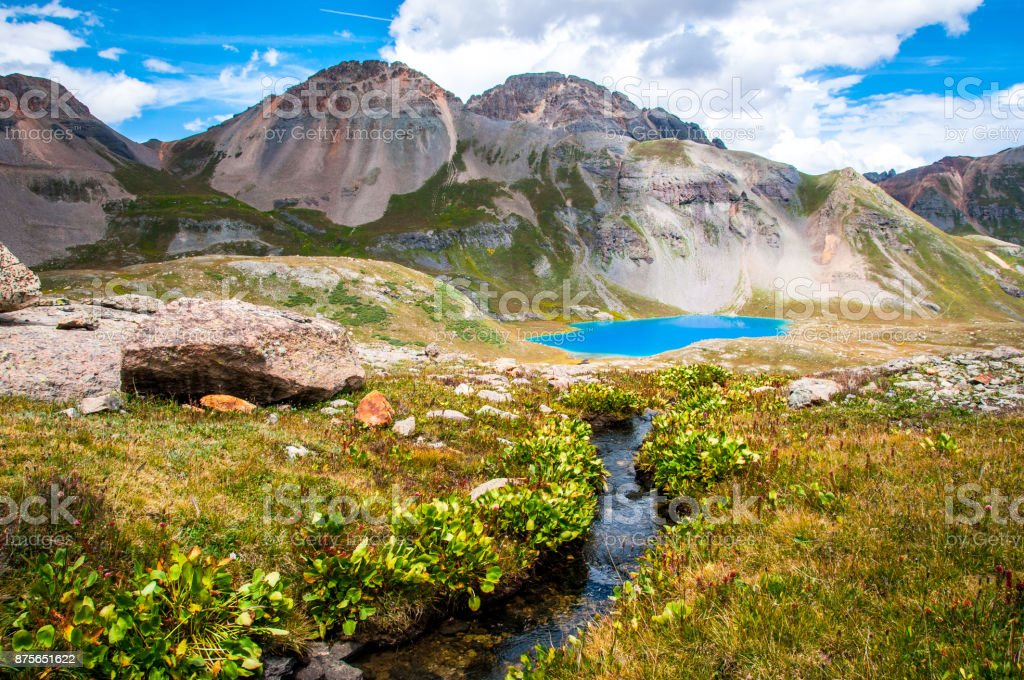 The gorgeous Ice Lake Basin Landscape of Colorado Rocky Mountains stock photo
