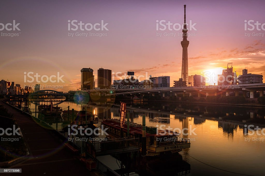 The gorgeous sunrise in Tokyo sky tree, royalty-free stock photo