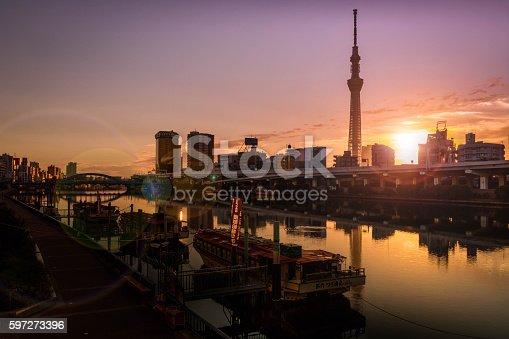 1184122904 istock photo The gorgeous sunrise in Tokyo sky tree, 597273396