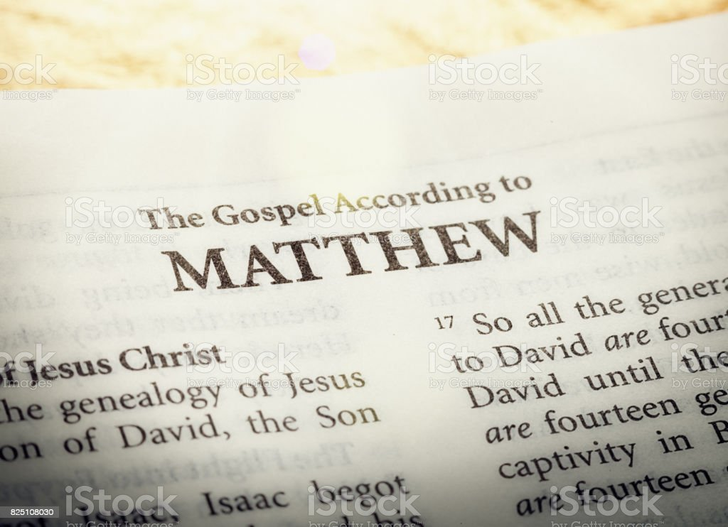 The Gospel according to Matthew in the Holy Bible stock photo