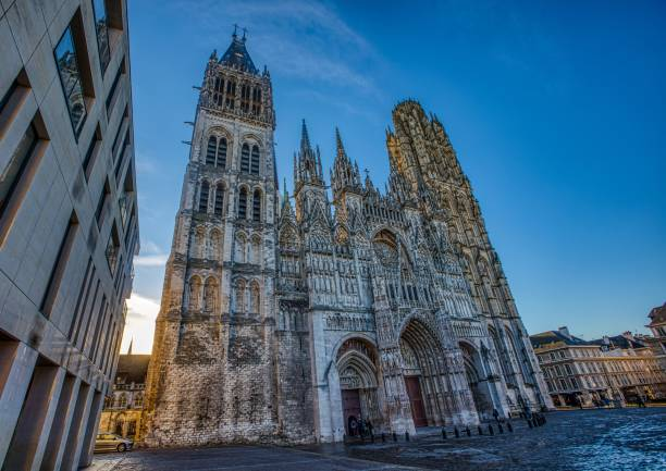 The gothic cathedral of Rouen in northern France stock photo