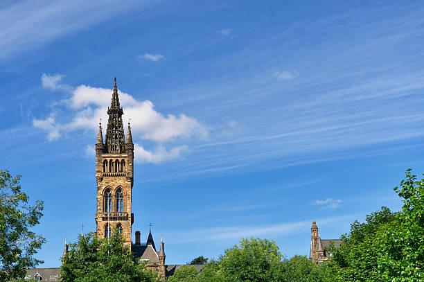 The gothic tower of Glasgow University stock photo