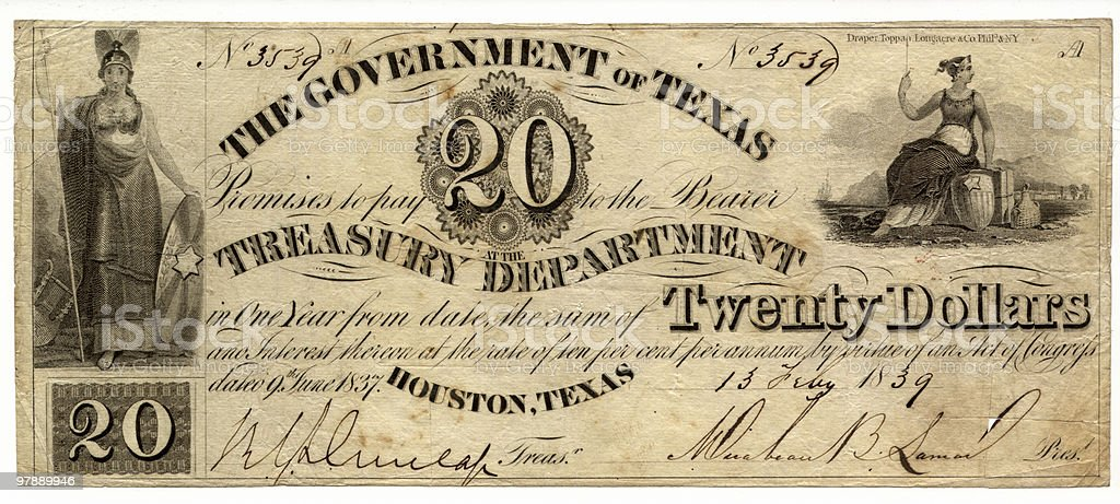 $20 The Government of Texas 1839 royalty-free stock photo