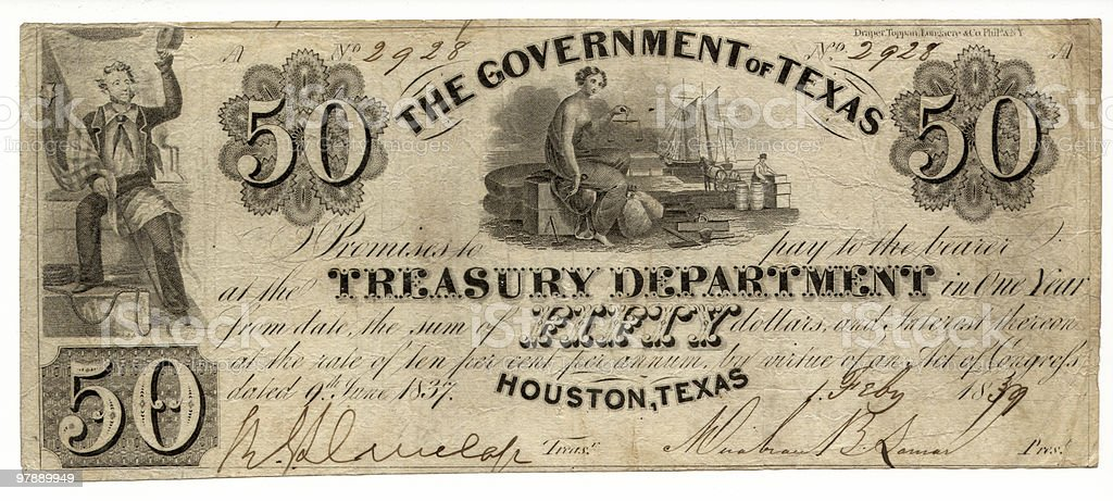 $50 The Government of Texas 1839 royalty-free stock photo