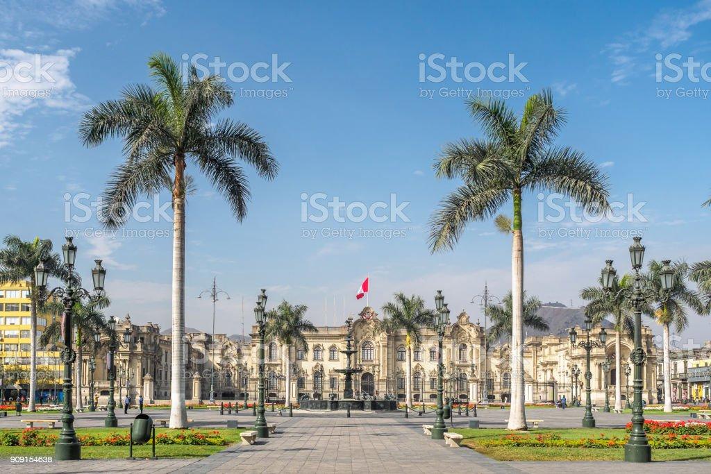 Die Regierung Palast von Peru an der Plaza Mayor in Lima Stadt. – Foto