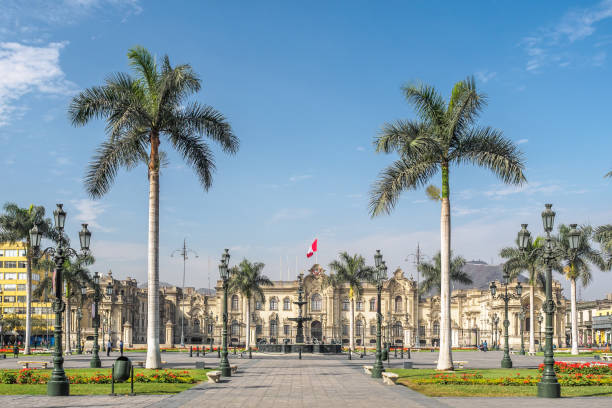 The Government Palace of Peru at Plaza Mayor in Lima city. stock photo
