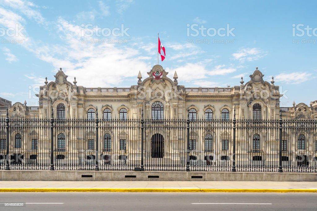 Der Regierungspalast, der offizielle Wohnsitz des Präsidenten von Peru in Lima-City. – Foto