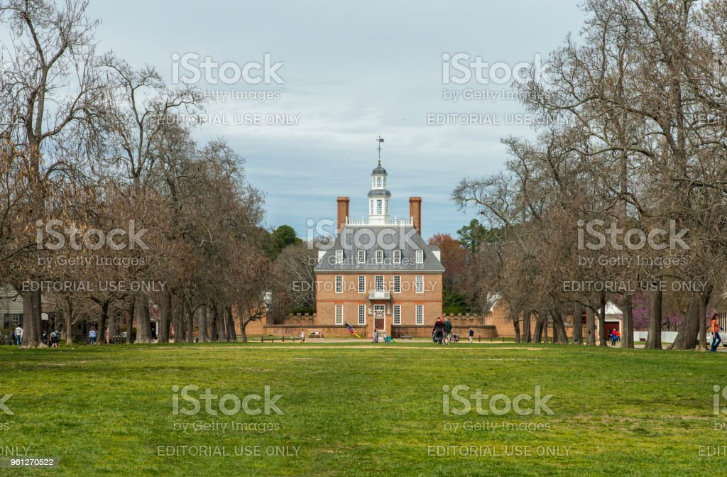 The Governors Palace Building in Colonial Williamsburg, Virginia stock photo