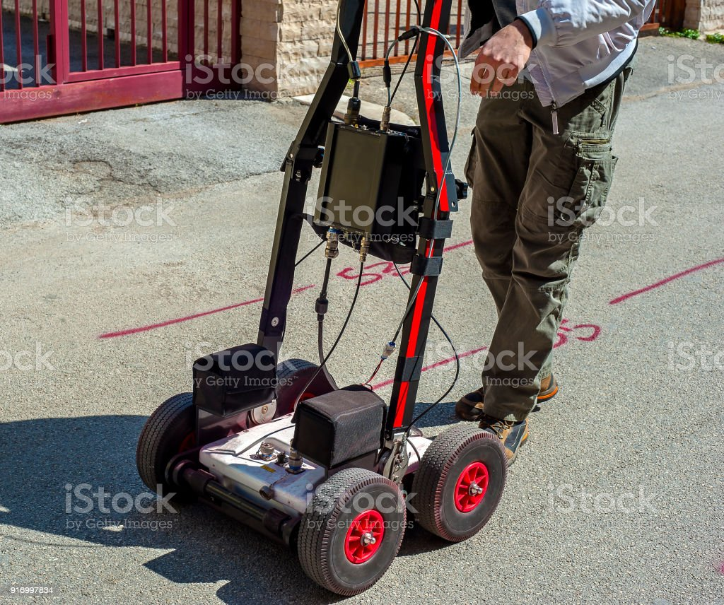 The GPR is a noninvasive method used in geophysics. It is based on the analysis of electromagnetic waves transmitted into the ground reflections. stock photo
