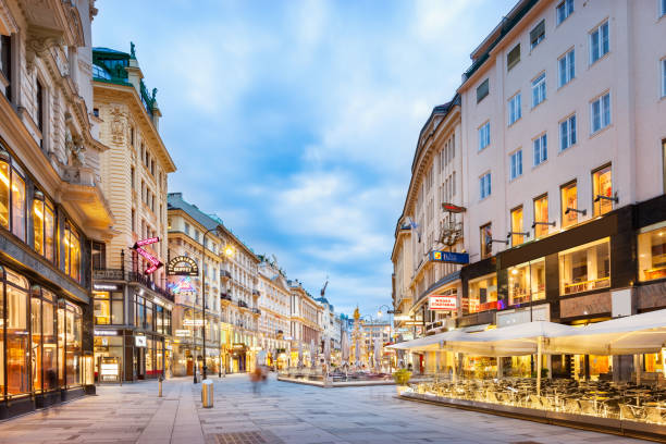 the graben shopping street in downtown vienna austria - vienna stock photos and pictures