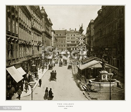 Antique Austria Photograph: The Graben, Vienna, Austria,1893. Source: Original edition from my own archives. Copyright has expired on this artwork. Digitally restored.