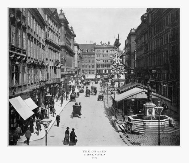 The Graben, Vienna, Austria, Antique Austria Photograph, 1893 Antique Austria Photograph: The Graben, Vienna, Austria,1893. Source: Original edition from my own archives. Copyright has expired on this artwork. Digitally restored. 1890 stock pictures, royalty-free photos & images