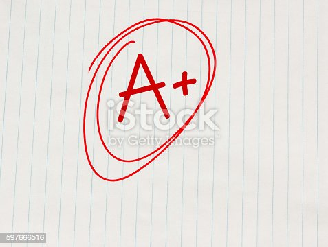 istock The grade A plus (A+) written in red on notebook paper 597666516