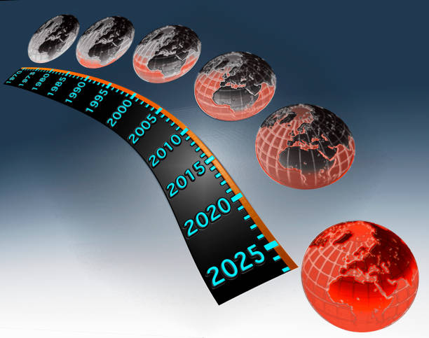 the gradual worsening of global warming from 1970 to 2025 - timeline visual aid stock photos and pictures