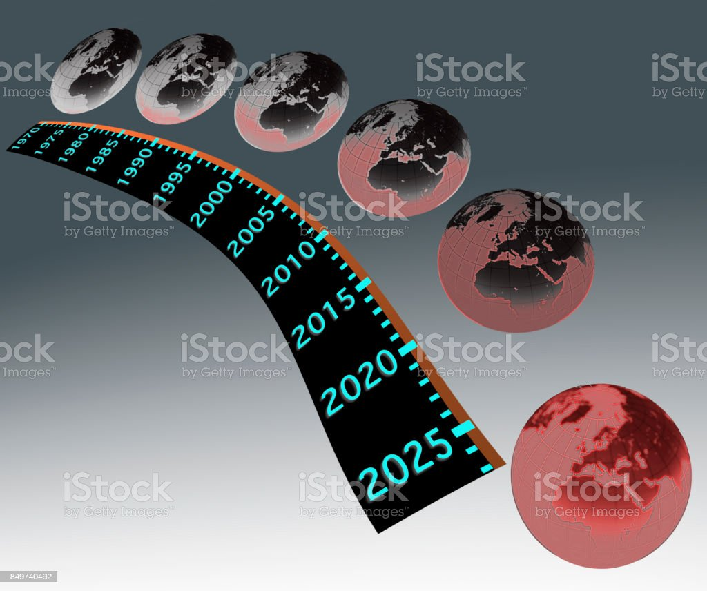 The gradual worsening of global warming from 1970 to 2025 stock photo