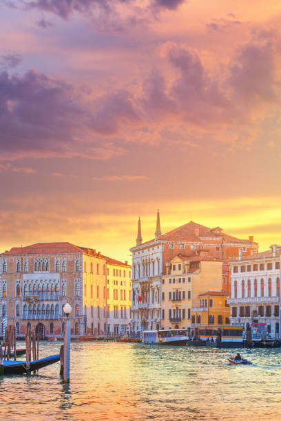 The Grand Canal in Venice at sunrise stock photo
