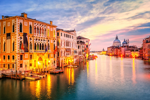The Grand Canal on sunrise, Venice, Italy