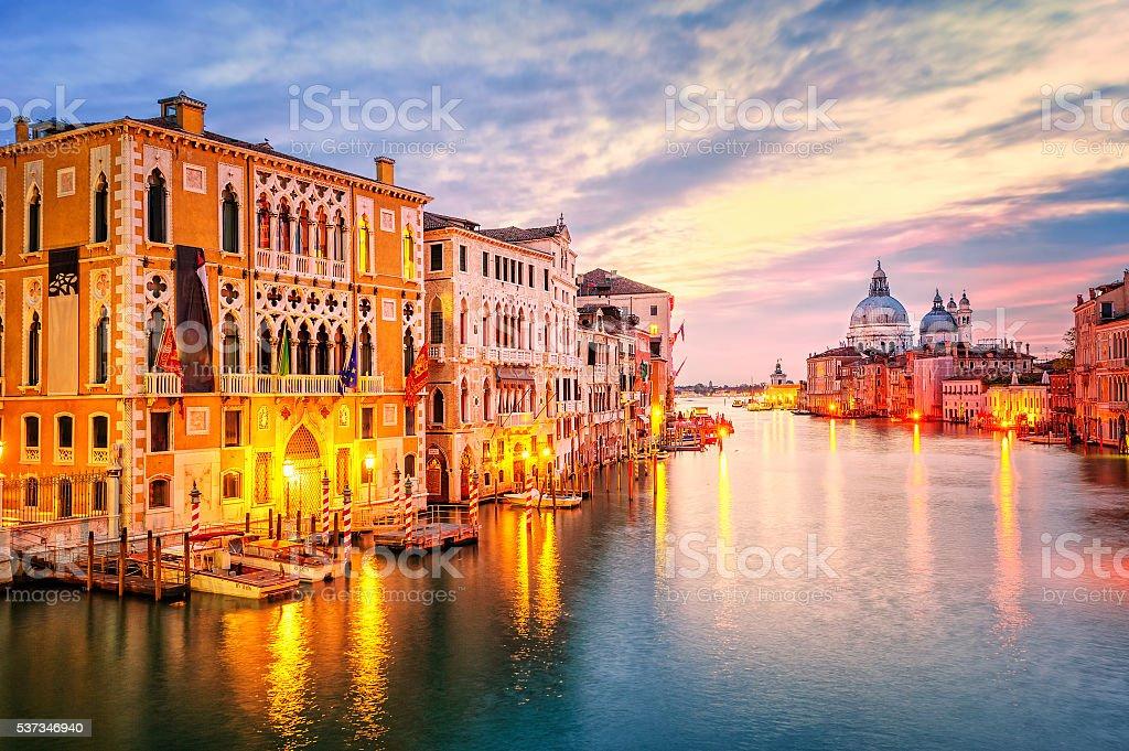 The Grand Canal on sunrise, Venice, Italy stock photo