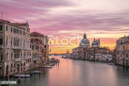 river side view of Santa Maria Della salute Church at sunrise time,venice