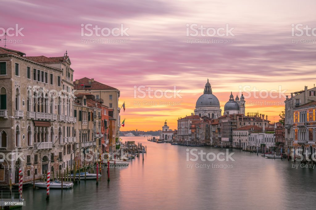 the Grand Canal sunrise,venice stock photo