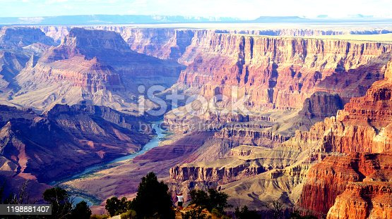 Landscape shot of The Grand Canyon with the Colorado river, in Arizona. Beautiful light and colors.