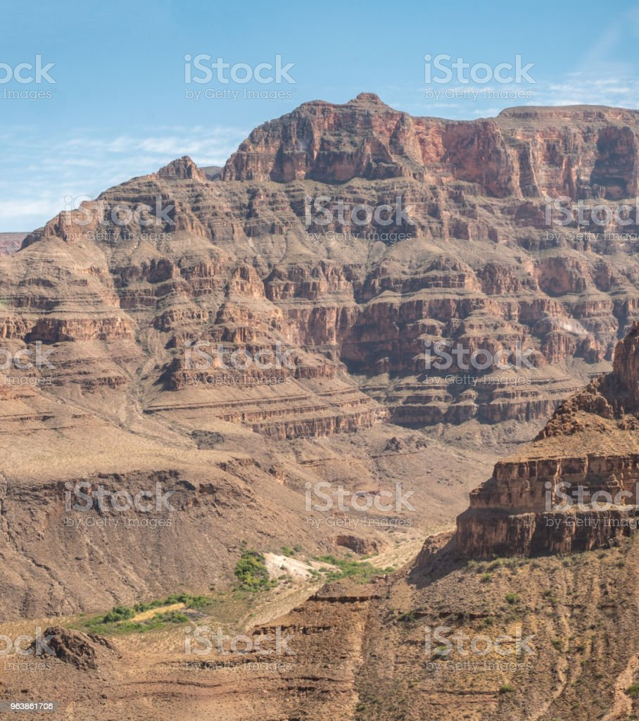The Grand Canyon From Helicopter With Clear Skies - Royalty-free Aerial View Stock Photo