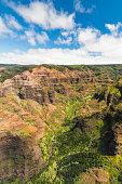 A look into Waimea Canyon State Park from above on the island of Kauai, Hawaii.
