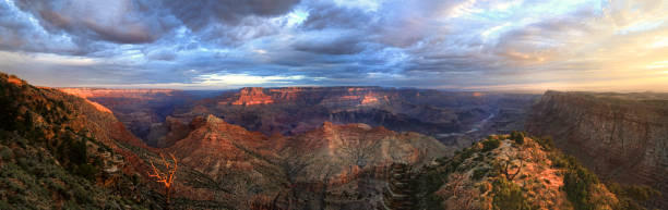 The Grand Canyon Panorama Sunrise From the South Rim stock photo