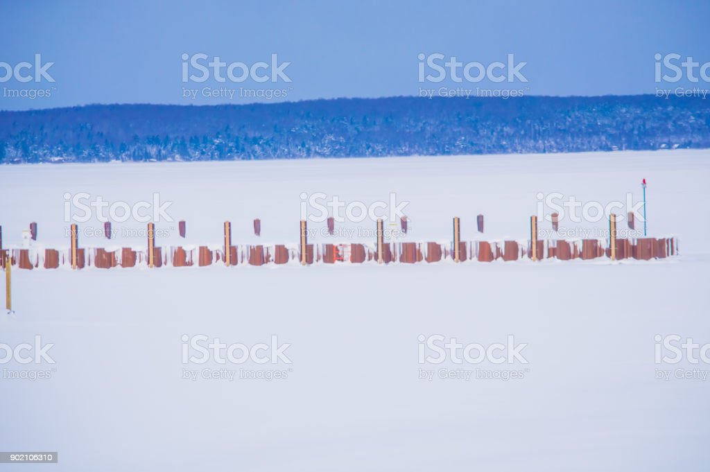 The grand islands and its lake across the pictured rock lake shore stock photo
