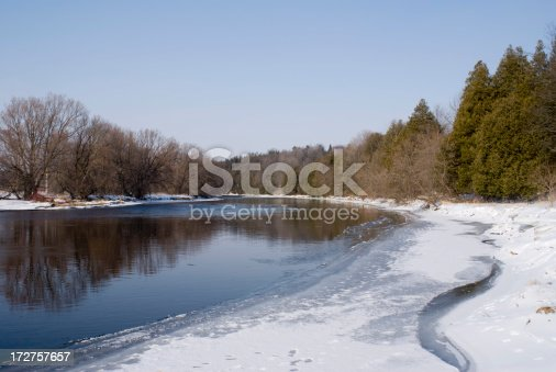 View of a river from the icy riverbank.