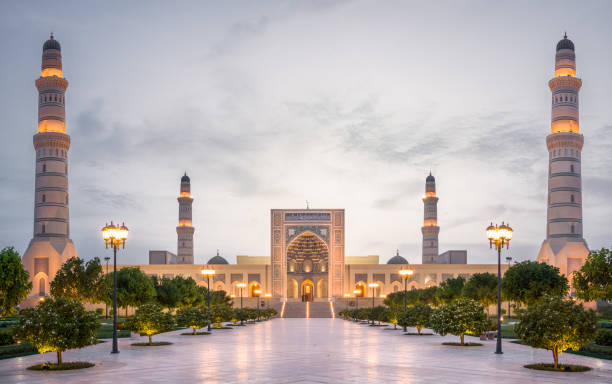 The grand Sultan Qaboos mosque, Sohar, Oman, Middle east. stock photo
