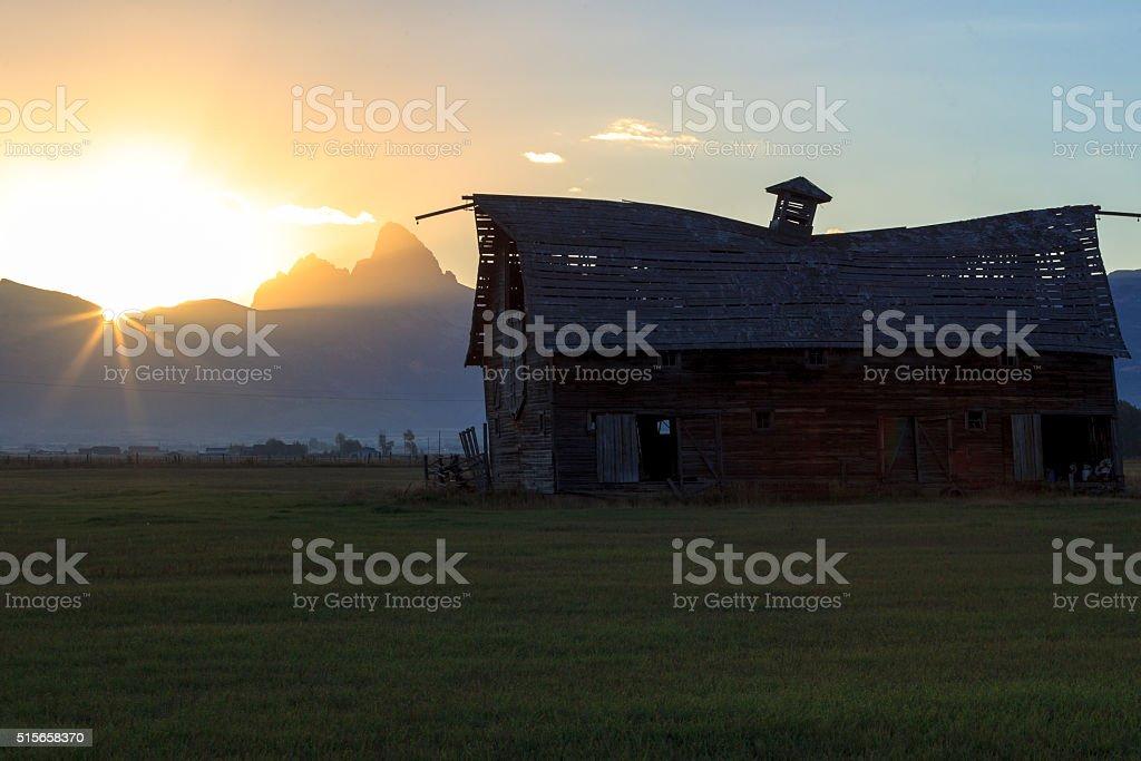 The Grand Teton Sunrise stock photo