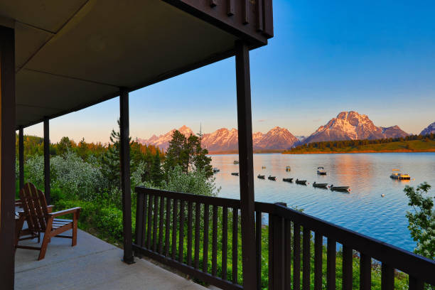 The Grand Tetons  with Jackson Lake in the foreground stock photo