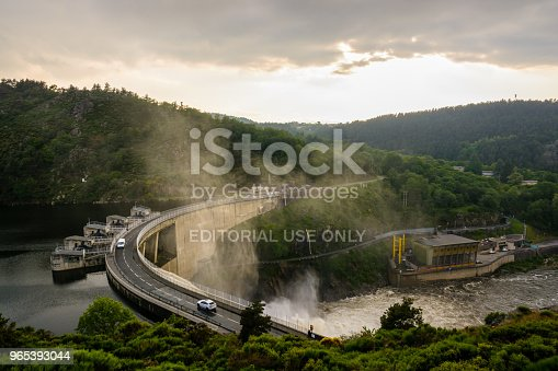 The Grangent Dam Seen During A Water Release At Sunset Is A Concrete Arch Dam Built In 1957 On The River Loire In The Surroundings Of Saintetienne Stock Photo & More Pictures of Above
