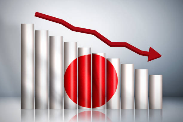 The graph down about Japan Stock Photo stock photo