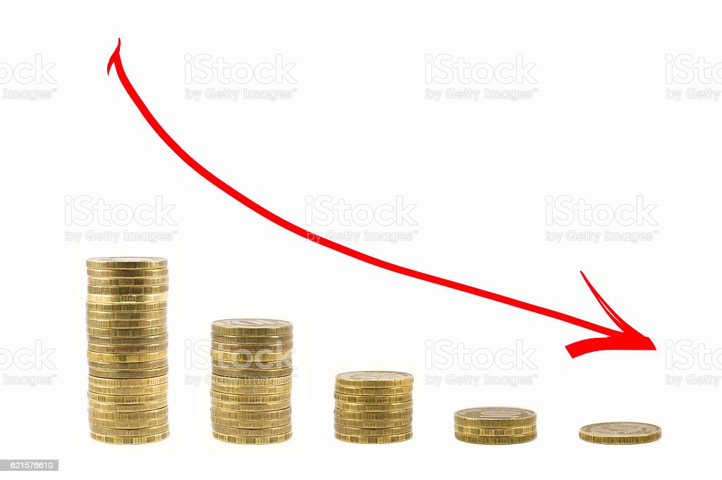 The graph of fall of the coins. Red arrow down photo libre de droits