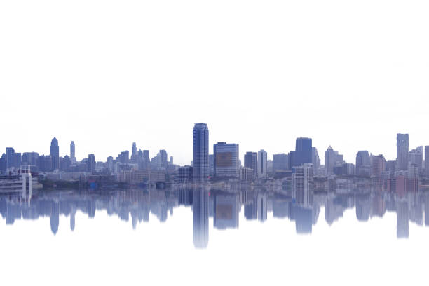 The graphic abstract reflection of city skyline on white background.