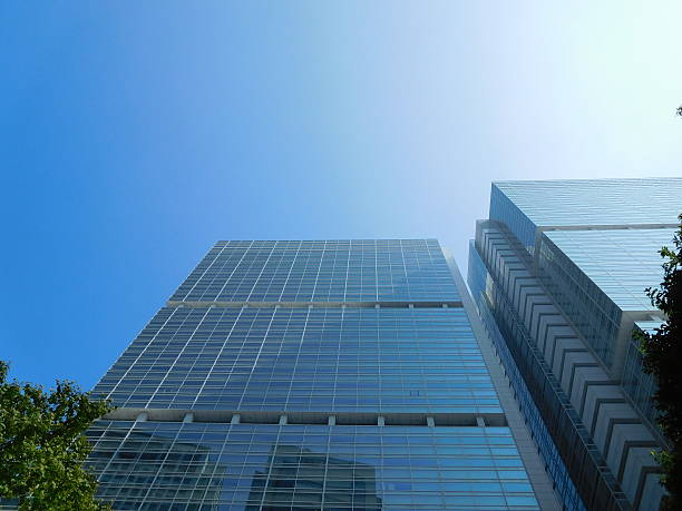 The grassed office buildings under the blue sky – Foto