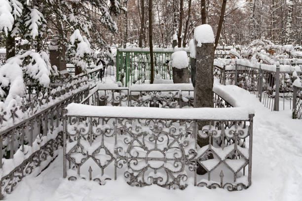 The grave of russian writer Pavel Melnikov (alias A. Pechersky) at the Red cemetery. Melnikov best known for his novels In the Forests and On the Hills, which describe the unique life of Transvolga. alias stock pictures, royalty-free photos & images